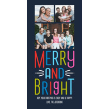 Christmas Photo Cards 4x8 Flat Card Set, 85lb, Card & Stationery -Navy Merry and Bright