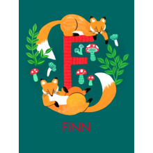 Non Photo Fleece Blanket, 60x80, Gift -Animal Monogram F