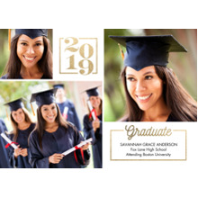 2019 Graduation Announcements 5x7 Cards, Premium Cardstock 120lb with Rounded Corners, Card & Stationery -Graduation 2019 Memories by Tumbalina