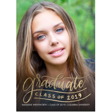 2019 Graduation Announcements 5x7 Cards, Premium Cardstock 120lb with Scalloped Corners, Card & Stationery -2019 Grad Gold Lettering by Tumbalina