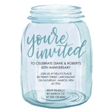Birthday Party Invites 5x7 Cards, Premium Cardstock 120lb with Elegant Corners, Card & Stationery -Party You're Invited Mason Jar by Tumbalina