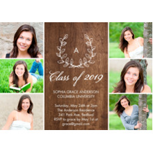 2019 Graduation Announcements 5x7 Cards, Premium Cardstock 120lb with Rounded Corners, Card & Stationery -2019 Grad Monogram Laurel by Tumbalina