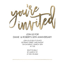 Birthday Party Invites 5x7 Cards, Premium Cardstock 120lb with Elegant Corners, Card & Stationery -Party You're Invited Script by Tumbalina