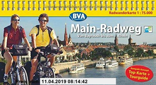 Gebr. - Kompakt-Spiralo BVA Main-Radweg Von Bayreuth bis zum Rhein Radwanderkarte 1:75.000