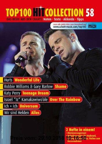 Gebr. - Top 100 Hit Collection 58: 6 Chart-Hits: Over The Rainbow - Wonderful Life - Shame - Teenage Dream - Universum - Alles. Noten für Klavier und