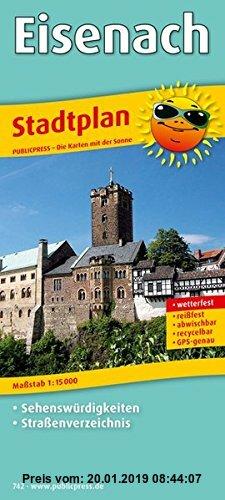Gebr. - Stadtplan Eisenach: Mit Sehenswürdigkeiten und Straßenverzeichnis, reißfest, wetterfest, GPS-genau. 1:15000