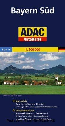 Gebr. - ADAC AutoKarte Deutschland, Bayern Süd 1:200.000: Registerheft: Zufahrtskarten und Citypläne, umfangreiches Ortsregister mit Postleitzahlen. .