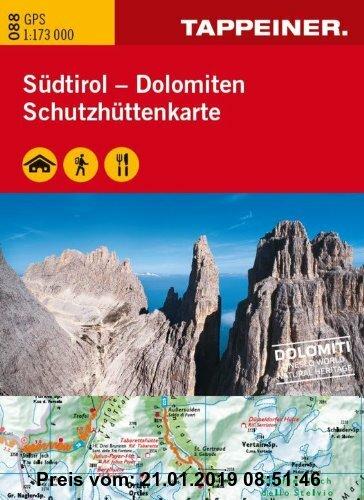 Gebr. - WAKA088 Schutzhüttenkarte Südtirol Dolomiten - GPS kompatibel - Topografische Straßenkarte 1:173.000