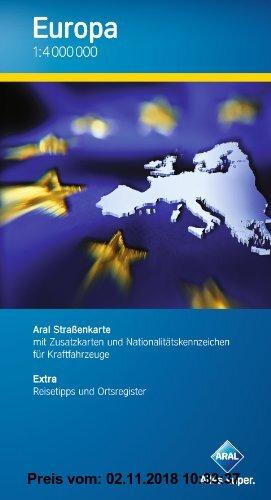 Gebr. - Aral Übersichtskarte Europa / 1:4 000 000 / Mit Infoheft inkl. Ortsregister, Länderinformationen und Tempolimits