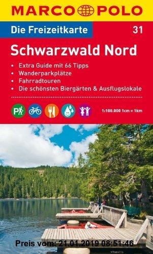 Gebr. - MARCO POLO Freizeitkarte Schwarzwald Nord 1:100.000: Extra Guide mit 66 Tipps. Wanderparkplätze. Fahrradtouren. Die schönsten Biergärten und A