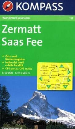 Gebr. - Zermatt, Saas Fee 1 : 50 000: Wanderkarte. Orts- und Namensregister. Carta escursioni. Indice dei nomi e delle località. GPS-genau