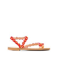Elina Linardaki sandales brodées de perles - Rouge