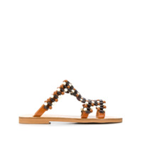Elina Linardaki sandales brodées de perles - Marron