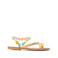 Elina Linardaki sandales brodées de perles - Jaune