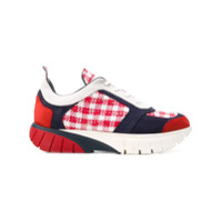 Thom Browne Gingham Tweed Raised Running Shoe - Rouge
