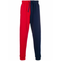 Cédric Charlier colourblock joggers - Bleu