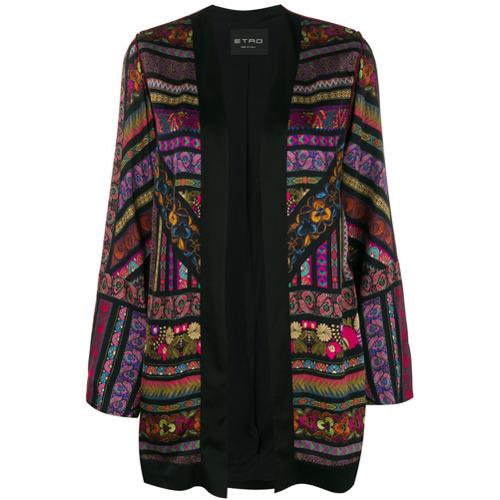 Etro printed loose cape jacket - Noir