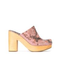 Rachel Comey mules à effet peau de serpent - Rose