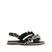 Suecomma Bonnie sandales volantées à détails de perles - Noir