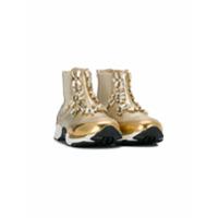 Ermanno Scervino Junior embellished hi-top sneakers - Métallisé