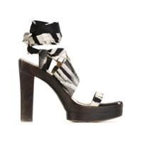 Hermès Vintage sandales imprimées à fermeture à nouer - Noir