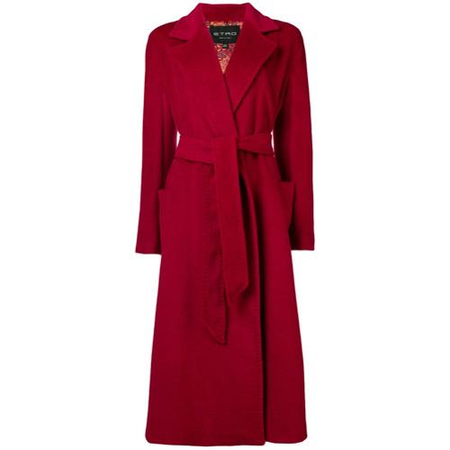 Etro Opal belted coat - Rouge