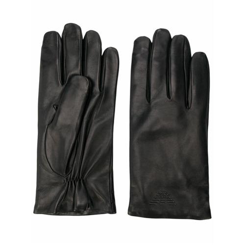 Emporio Armani gants en peau d'agneau - Noir