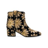 Laurence Dacade embroidered flower ankle boots - Noir