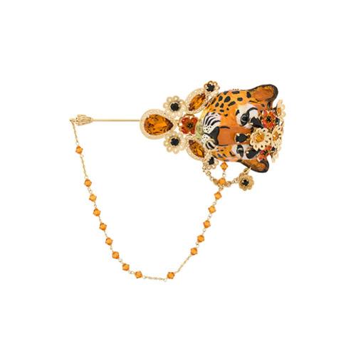 Dolce & Gabbana embellished tiger brooche - Doré