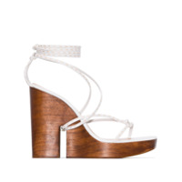 Jacquemus sandales compensées à bride cheville - Blanc
