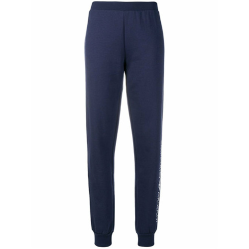 Emporio Armani logo tapered jogging bottoms - Bleu