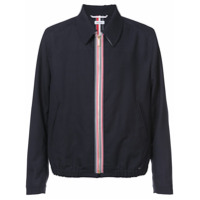 Thom Browne Double Welt Pocket Zip Up Elastic Hem Golf Jacket With Exposed Zipper Tape In 2 Ply Fresco - Bleu