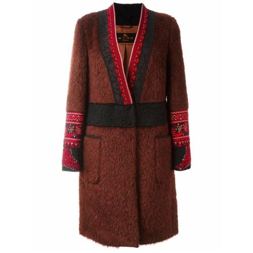 Etro manteau brodé à col v - Rose