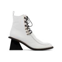Marques'Almeida bottines zippées à bout carré - Blanc