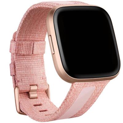 Fitbit Versa 2 Woven Hybrid Armband Pink Large Sportarmband