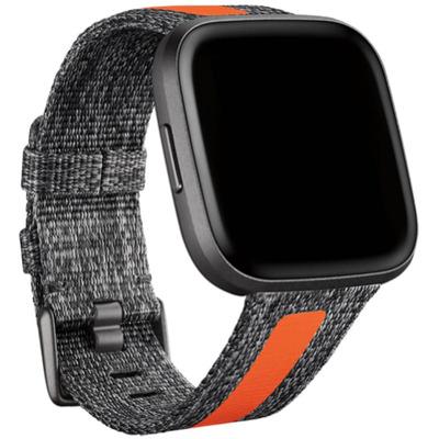 Fitbit Versa 2 Woven Hybrid Armband Charcoa/Orange Large Sportarmband