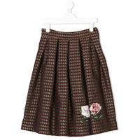 Monnalisa pleated graphic-print skirt - Red