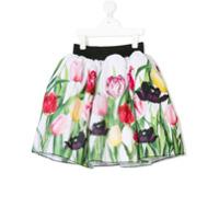 Love Made Love tulip print pleated skirt - White