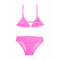 Philipp Plein Junior embellished skull bikini set - Pink
