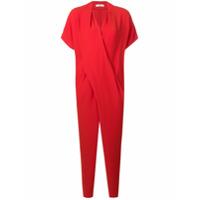 Poiret wrap draped jumpsuit - Red