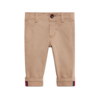 Gucci Kids Baby gabardine pant with Web - Neutrals