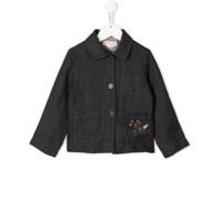 Bonpoint floral embroidered denim jacket - Grey