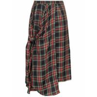 PushBUTTON asymmetric tartan midi skirt - Black
