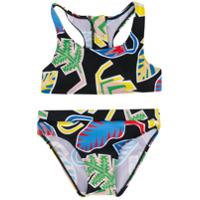 Stella Mccartney Kids leaf print bikini set - Black