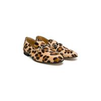 Gallucci Kids leopard print horsebit loafers - Neutrals