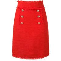 MSGM boucl tweed frayed skirt - Yellow
