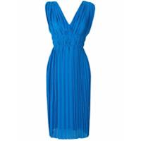 P.A.R.O.S.H. pleated V-neck dress - Blue