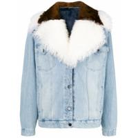 Simonetta Ravizza oversized fur-trim denim jacket - Blue
