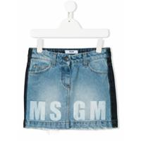 Msgm Kids two-tone denim skirt - Blue