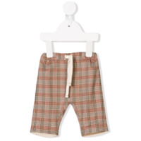 Knot landscape check trousers - Brown
